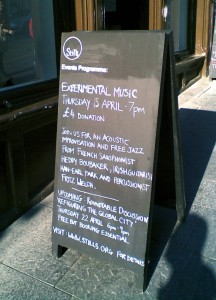 "Stills Gallery (Edinbugh) 04-15-10: ""Experimental Music, Thursday 15 April - 7pm, £4 donation: Join us for an acoustic improvisation and free jazz from French saxophonist Heddy Boubaker, Irish guitarist Han-earl Park and Percussionist Fritz Welch."""