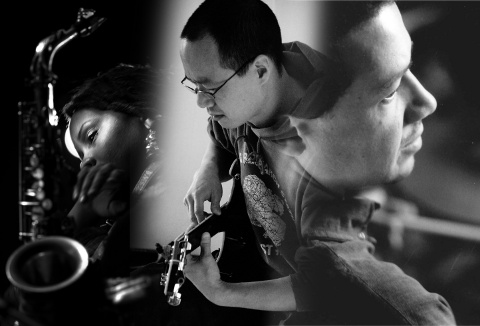 Matana Roberts, Han-earl Park and Mark Sanders (original photos by Brett Walker, Stephanie Hough and Andrew Putler)
