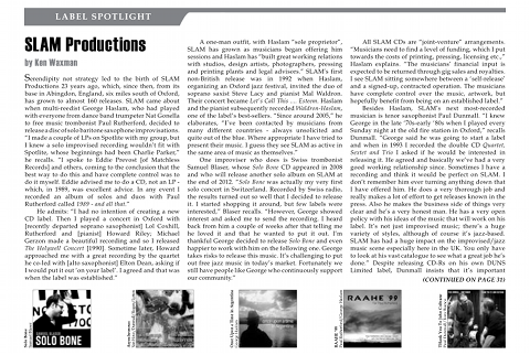SLAM Productions featured in The New York City Jazz Record, 08-2012. Copyright 2012 The New York City Jazz Record.